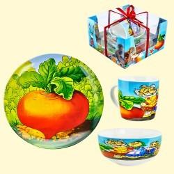 "Набор детской посуды Сказка ""Репка"", кружка 300 мл, тарелка 20 см, тарелка глубокая 600 мл, порцелан.Set of children's dishes Fairy tale ""Turnip"", mug 300 ml, plate 20 cm, plate deep 600 ml, porcelain"