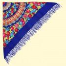 Shawl 140x140 cm, 100% polyester, blue - Платок 140x140 см, 100% полиэстер, синий
