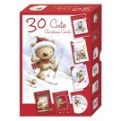 Bumper Box of 30 Cute Christmas Cards - 6 Santa Teddy Bear Designs per pack