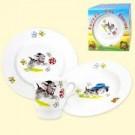 """Набор посуды """"Озорные щенки"""", (кружка 210 мл, тарелка мелкая 20 см, тарелка глубокая 20 см).Set of dishes """"Mischievous puppies"""", (mug 210 ml, small dish 20 cm, plate deep 20 cm)"""