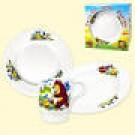 "Набор посуды ""Веселый колобок"", (кружка 210 мл, тарелка мелкая 20 см, тарелка глубокая 20 см).Set of dishes ""Cheerful boll"", (mug 210 ml, small dish 20 cm, plate deep 20 cm)"