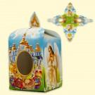 Коробочки для пасхальных яиц, 7 х 5,5 х 5,5 см с окошком, дизайн: голубой с церковью